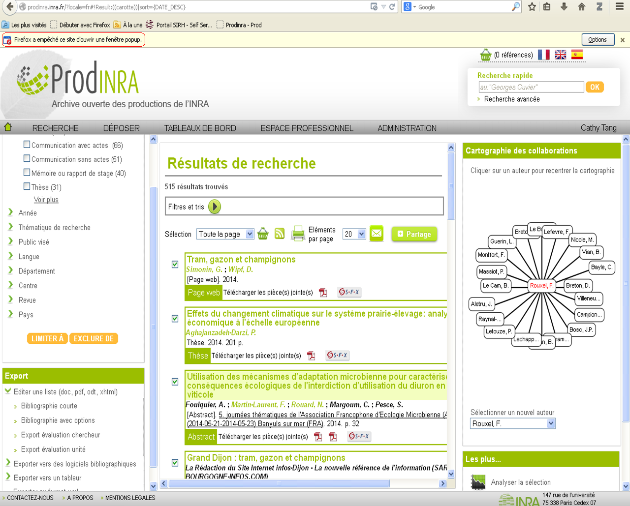 Import export wiki prodinra 2 inra for Bloquer fenetre pop up chrome