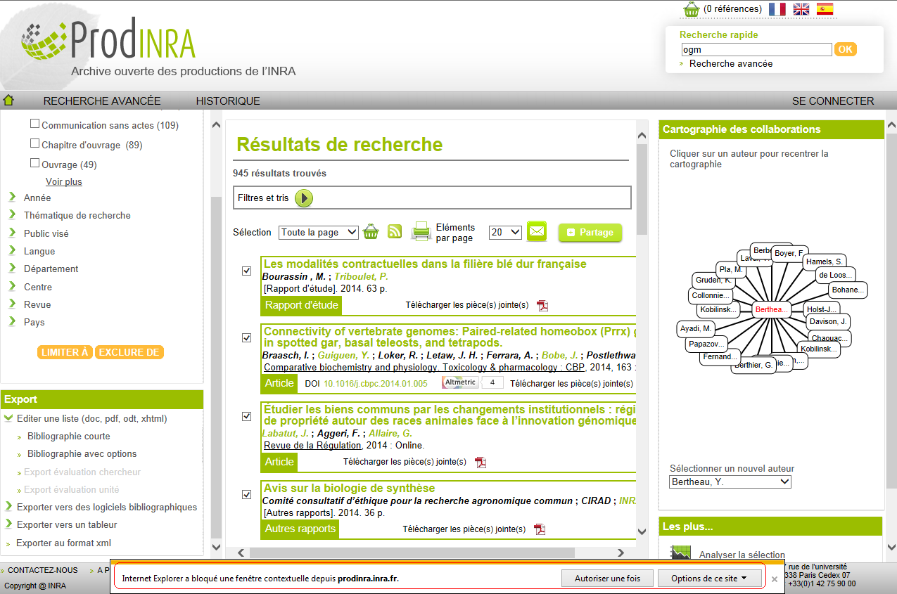 Import export wiki prodinra 2 inra for Bloquer fenetre pop up